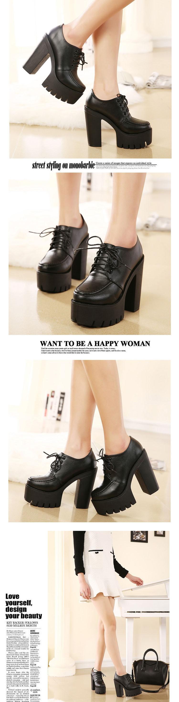 Punk Boots Spring Autumn Fashion Womens Shoes Heels Lace Up Platform