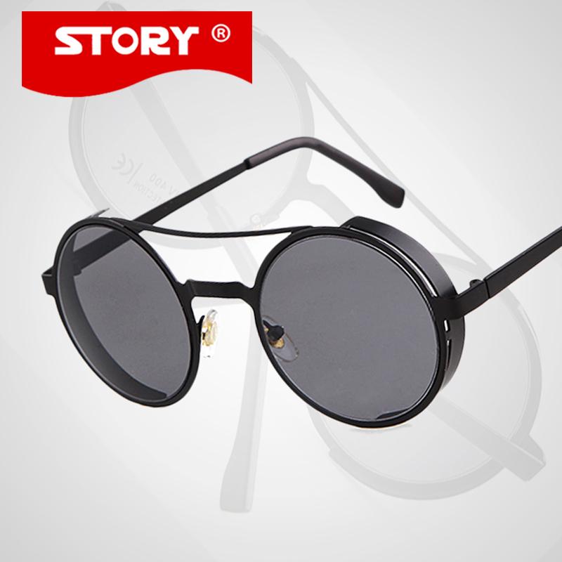 One pcs Points SUn Glasses Women 2015 New Fashion Round Sunglasses Men Brand Designer Retro Steampunk oculos - STORY Official Store store
