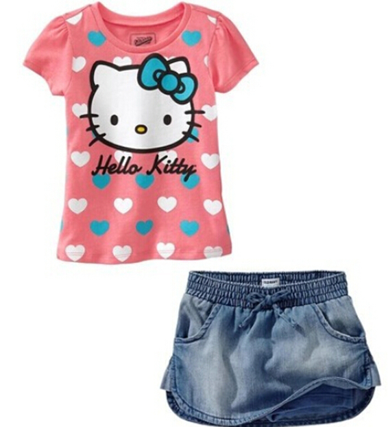 JT-016 Retail 2014 new girl clothing set hello kitty kids cartoon set t-shirt + jeans short popular baby outfit free shipping(China (Mainland))