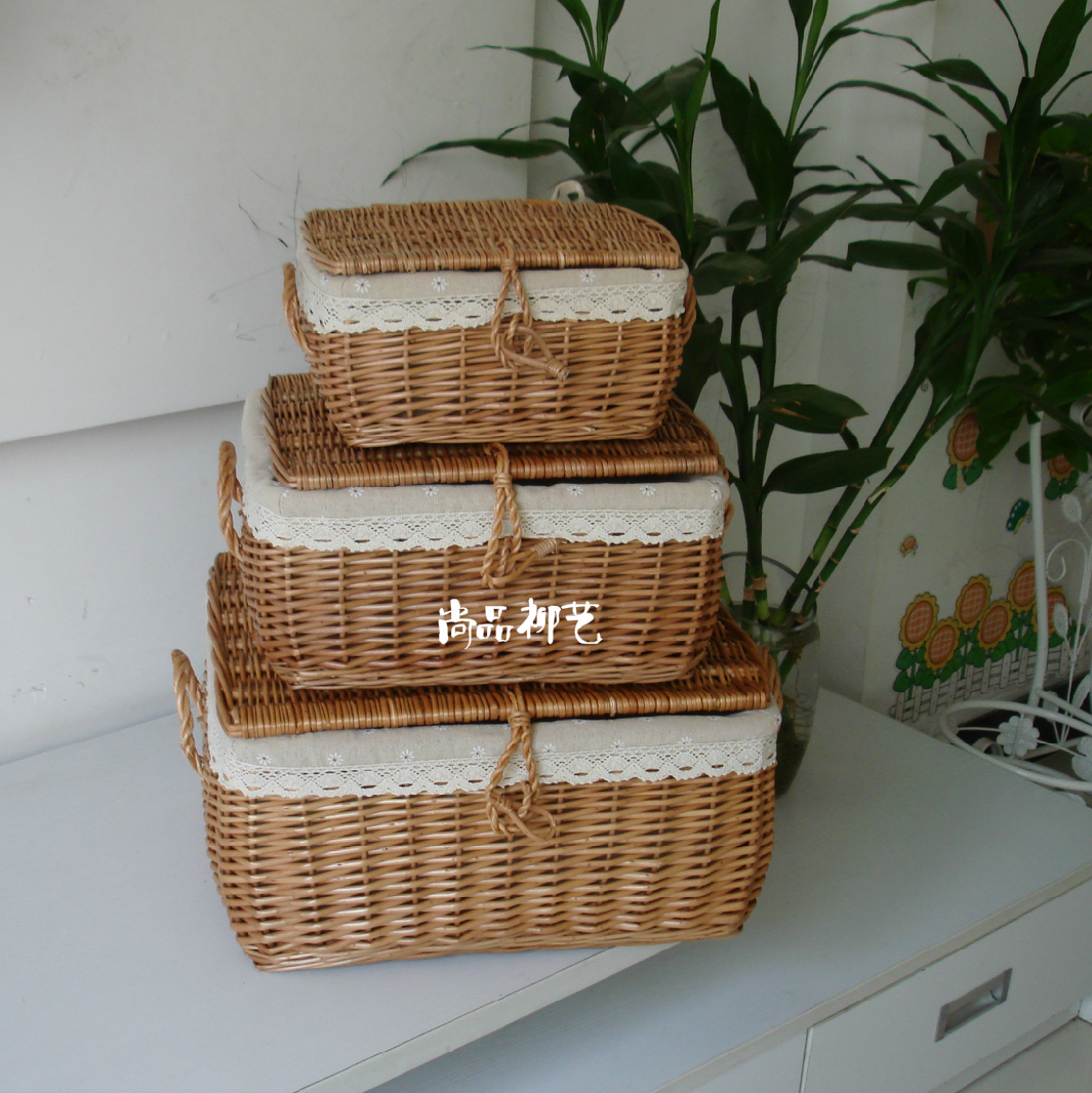 Wicker Toy Basket With Lid : Square storage holder rattan with lid willow basket