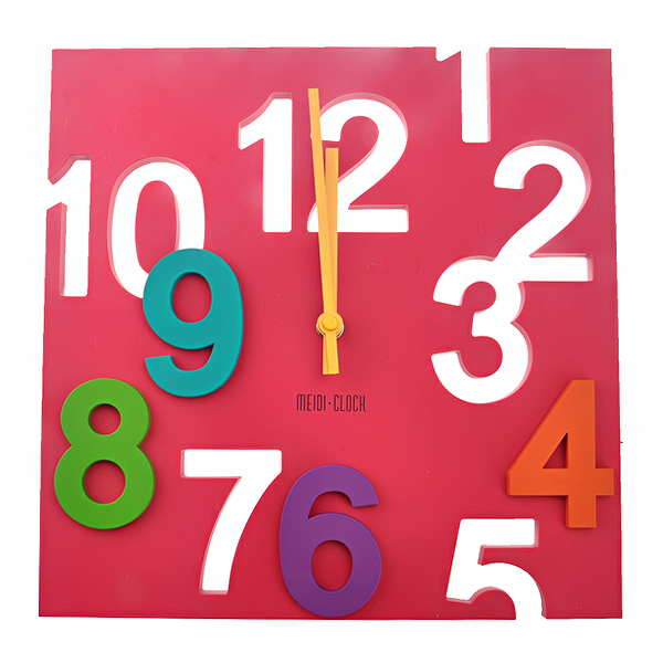 MD1105 Creative 3D Colorful Arabic Numbers Square Shaped Quartz Wall Clock Art Clock(China (Mainland))