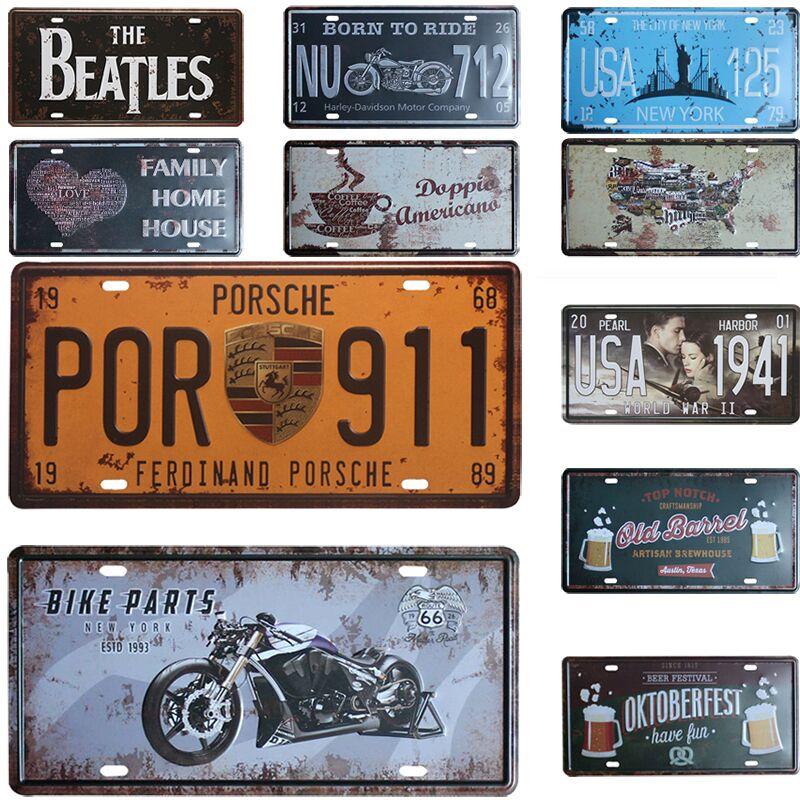 Vintage Metal Car Signs : Por vintage car license metal plate decor tin signs