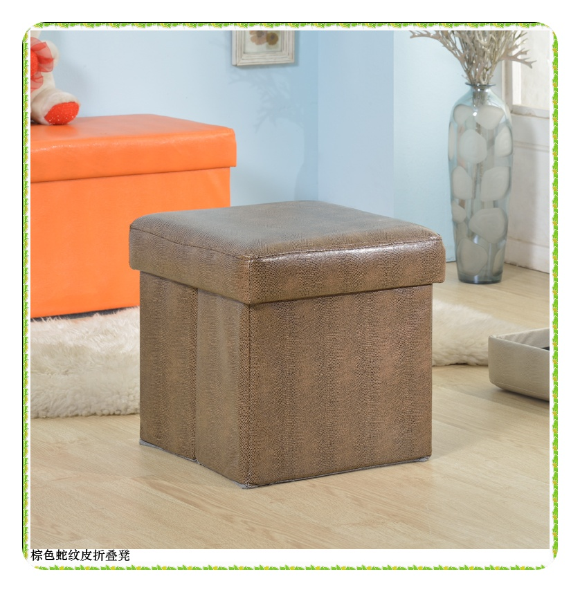 Fashion brown snake leather stool set storage home furniture hot selling<br>