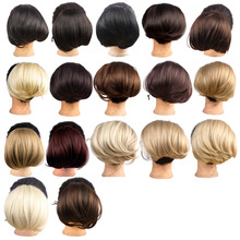 1pc Synthetic Hepburn's Elastic Hair Buns Straight Synthetic Hair Bun Extension 85G Thicker Natural Chignon WQ941G