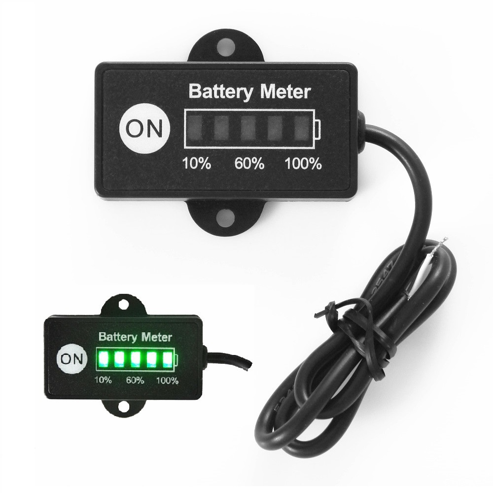 Mini 12v 24v led battery indicator gauge 5 led golf cart motorcycle battery discharge meter