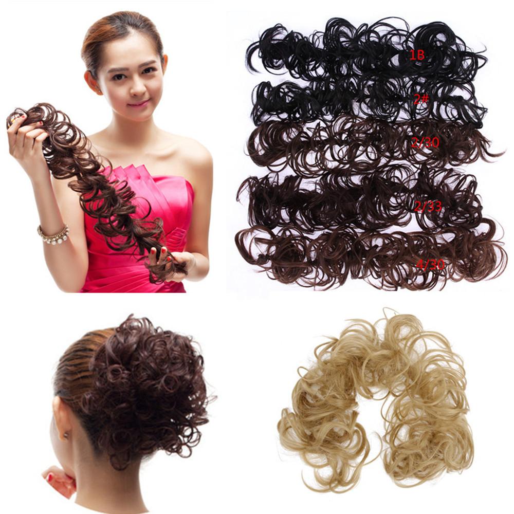 1PC Hair Buns Scrunchy Bun Hair Piece Updo Bride Bun Natural Hairpiece Wavy Messy Multifuctional Synthetic Curly Hair Chignon