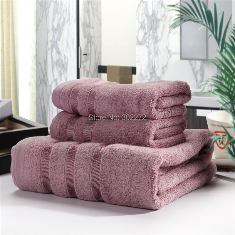 Towel Set, 100% Bamboo fiber 2Face towel*35x75CM/ 1Bath Towel*140x70CM, Bamboo towel Set, Terry&Soft, Purple/Silver/Coffee ,650g(China (Mainland))