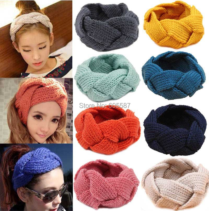 10 pieces / lot 2015 New Fashion Doughnut Women Headband Winter Hairbands Crochet Knitted Headwraps Ladies Headbands 0349(China (Mainland))