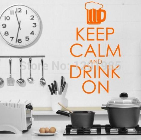 Keep calm and drink on funny wall quote wall art decal for Funny home decor