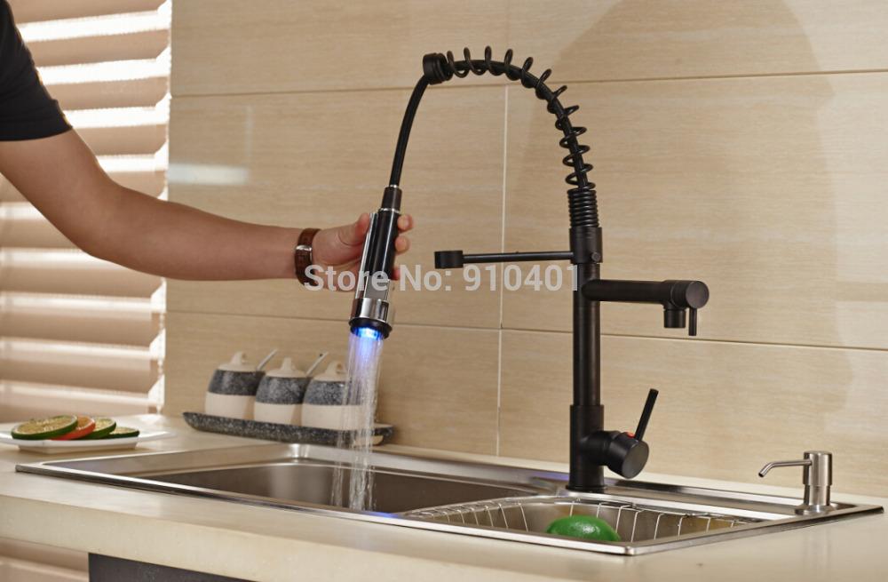 Modern Oil Rubbed Bronze Kitchen Faucet Vessel Sink Mixer Tap Swivel