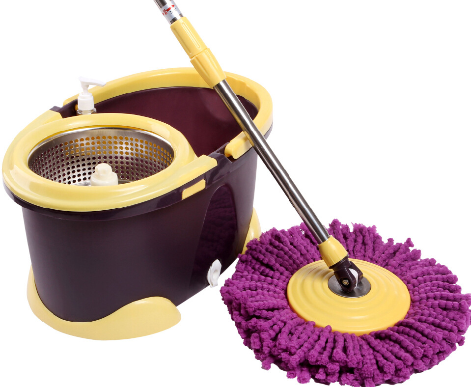 360 degree retractable mop set stainless steel dual drive rotation mop with bucket clean tools housewares(China (Mainland))