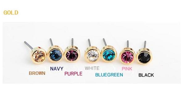 Hot Korean fashion jewelry simple little bright silver and gold earrings crystal earrings small ultra-affordable jewelry
