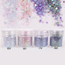 1Box 10ml Purple Mixed Sequins Nail Glitter Powder Super Matte Powder Nail Decor