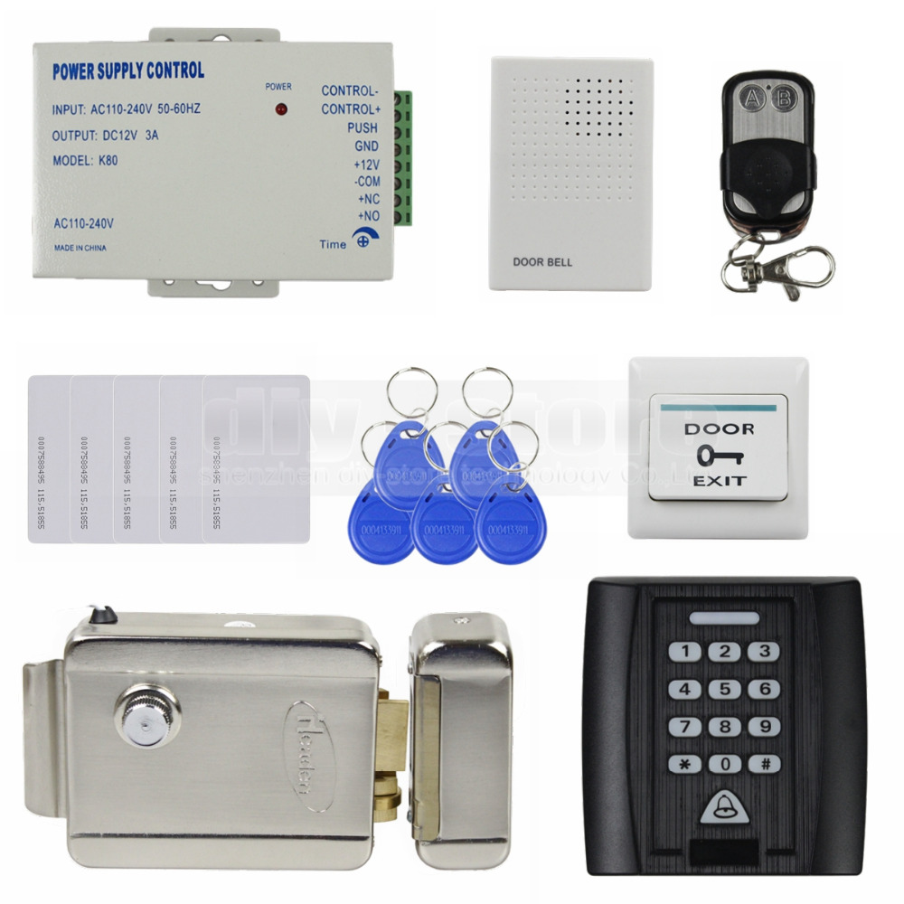 Remote Control Door Bell Electric Lock 125KHz RFID Reader Password Keypad Access Control System Security Kit + Exit Button KS158(China (Mainland))