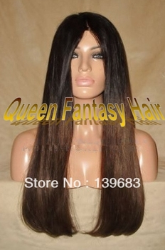 """Queen Hair Quality Guaranteed 18""""#1bT#4 straight virgin peruvian hair ombre brown full lace glueless wigs in stock free shipping"""