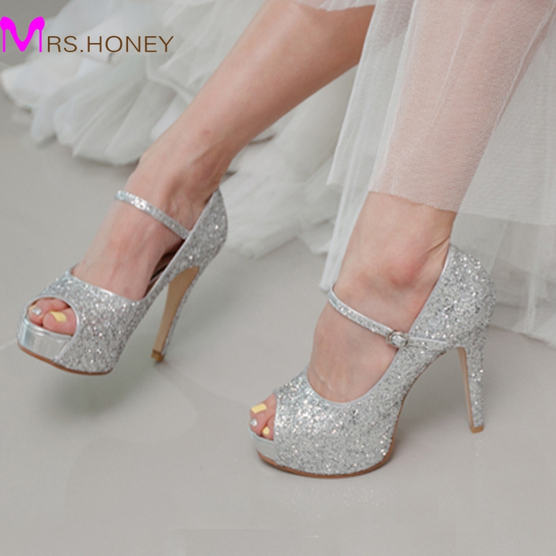 Silver Glitter Wedding Shoes High Quality Customized Peep Toe Women High Heels Homecoming Party Prom Shoes Stilettos 4 Inch Heel(China (Mainland))