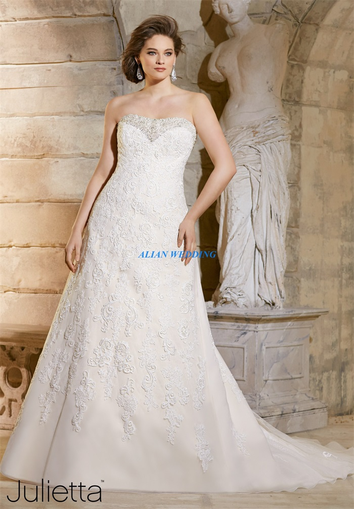 New arrival cheap plus size wedding dress with beaded 2015 for Lace wedding dresses plus size
