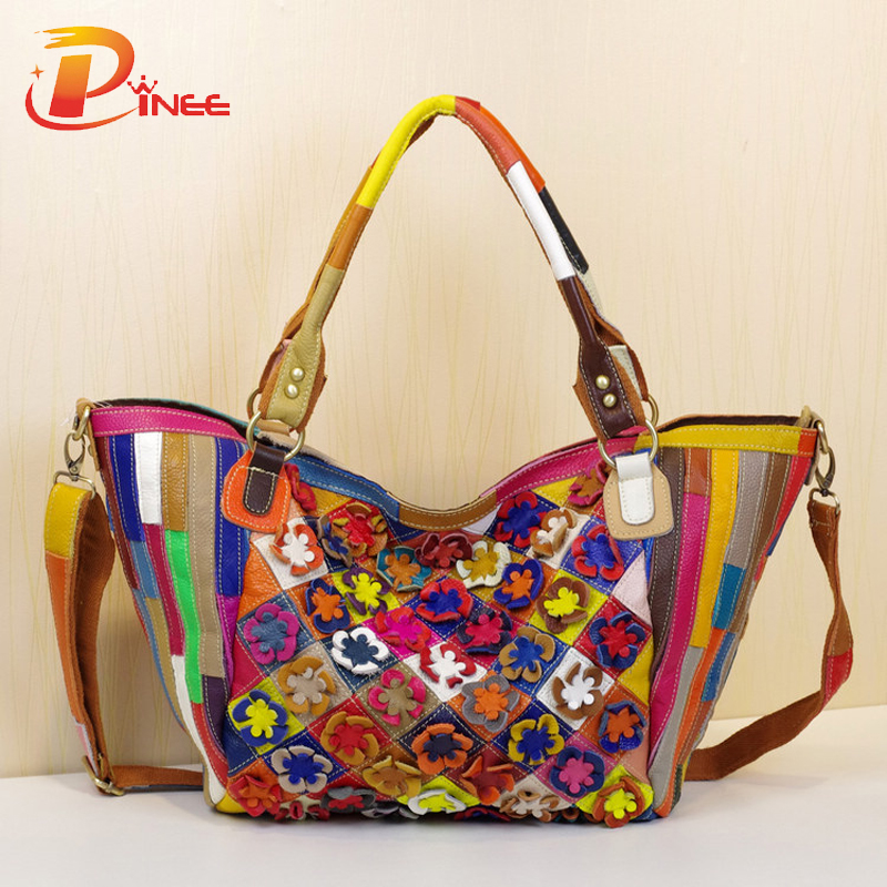 Hand-made Applique Colorful Women Shoulder Bags Genuine Leather Casual Handbags 2016 Cowhide Bag(China (Mainland))
