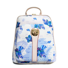 Lady Women Backpack Shoulder Bag Leather Messenger Bags Floral Printing White(China (Mainland))