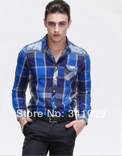 The new men's men's leisure stitching lattice long sleeve shirt cotton men long sleeve shirt wash-and-wear men's shirts (China (Mainland))