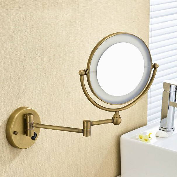 High quality 8 brass antique 1x3 magnifying bathroom wall Bathroom magnifying mirrors wall mounted