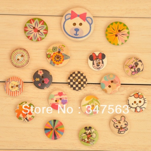 wooden buttons coloured drawing or pattern print button children accessories sewing accessories buttons for craft scrapbooking(China (Mainland))