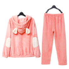 Song Riel thick winter flannel pajamas men and women couple home service package cute cartoon Ice