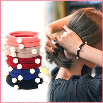 Gold quality women's elastic hair bands fashion candy color headwear pearl Sweet girl hair ropes hairbands accessories #JH069