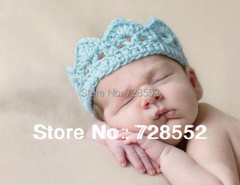 Free shipping crown style handmade crochet photography props newborn baby hair band