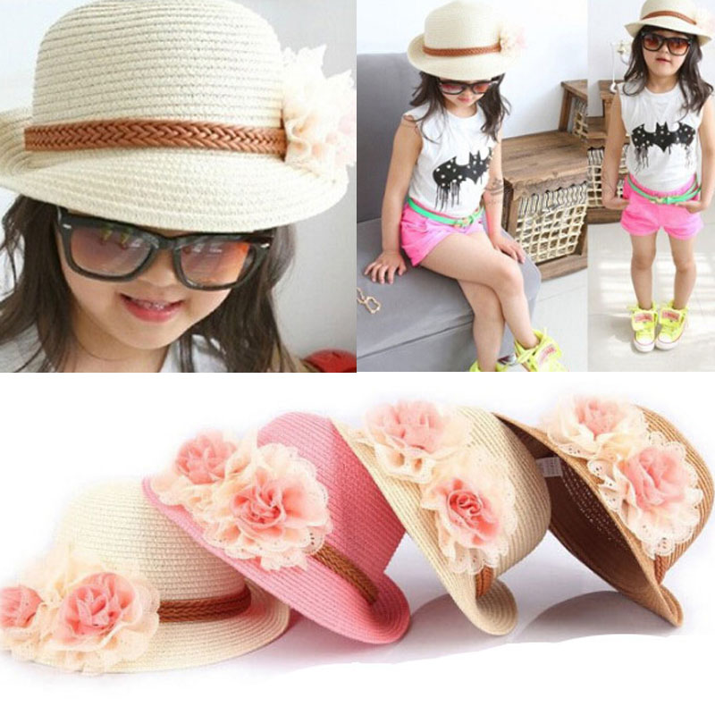 2015 Hot Cute Flower Decorate Baby Girls Children Hats Sun Beach Caps For Summer 4 Colors For Choose Free Shipping(China (Mainland))