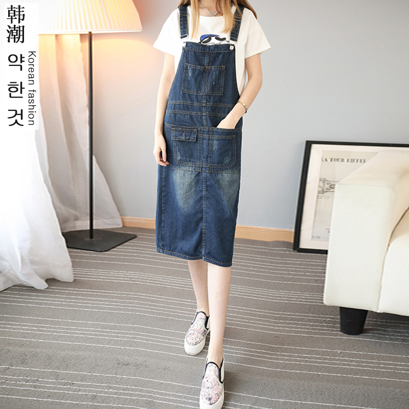 2016 new casual autumn dress line solid polyester long jean dresses denim dress overalls fashion women plus size casual dress(China (Mainland))