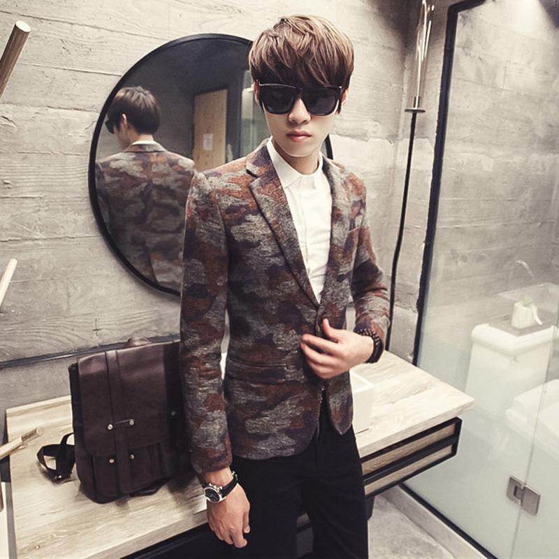 Autumn and winter fashion vintage Camouflage woolen casual blazer male slim suit jacket