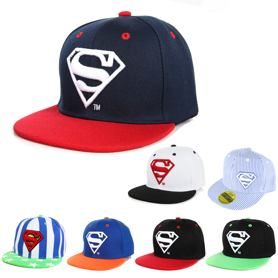 Cool!New Unisex Boys Cap For Children Hat Baby Snapback Hat Kid Hat Snapback Cap Kid Super Man Hip Hop Cap 3-8 Years(China (Mainland))