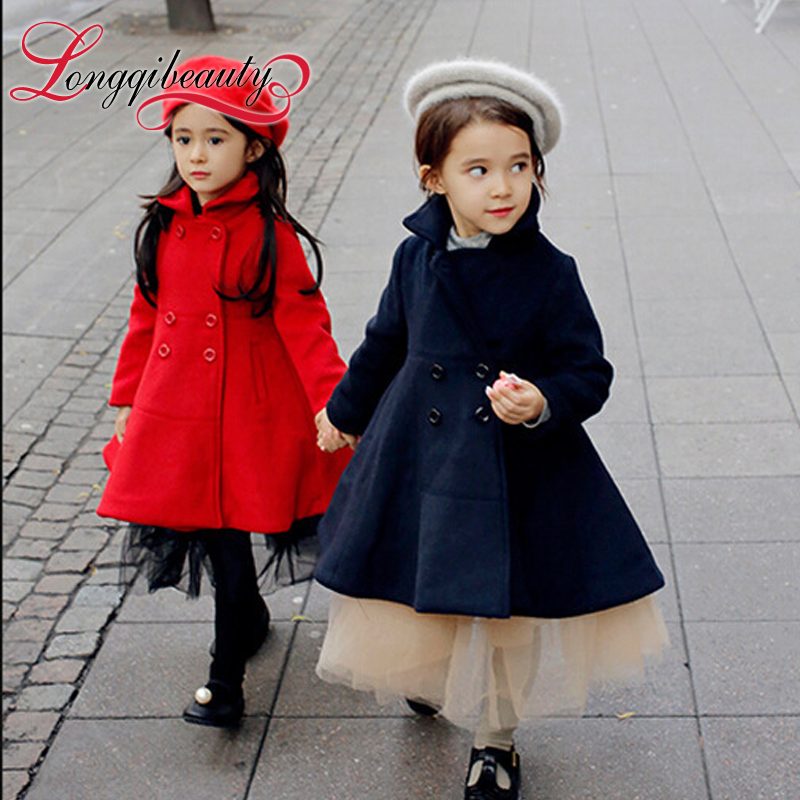 2015 New Fashion Autumn Winter Girls Warm Turtleneck Solid Covered Buttons Bow Long Sleeve Outwear Coats for Cute Baby Girls<br><br>Aliexpress