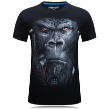 Men's Tops Summer O-neck T-shirt Fashion 3D Headphones Orangutan Chimpanzees Tees Music Monkey Gorilla T Shirt Plus Size S-6XL