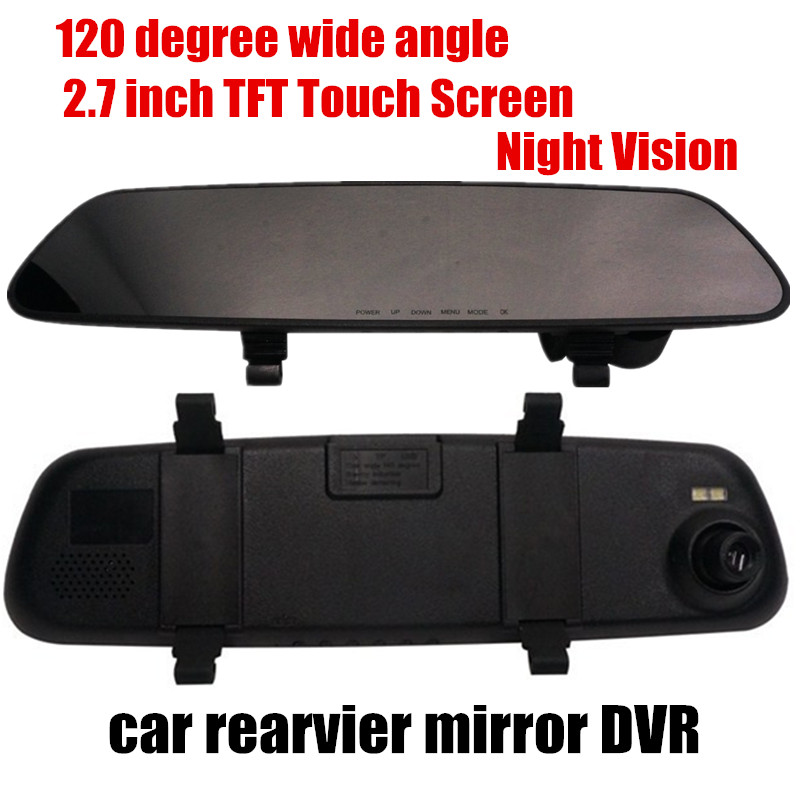 free shipping 2.7inch car rearview mirror DVR night vision car camcorder 120 degree wide angle <br><br>Aliexpress
