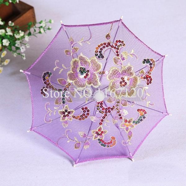 Free Shipping,4pcs/lot 2014 Purple Mini Lace Umbrella Flower Silk Lace Cloth Toy Parasol Umbrella for Children 30cm Diam(UM20(China (Mainland))