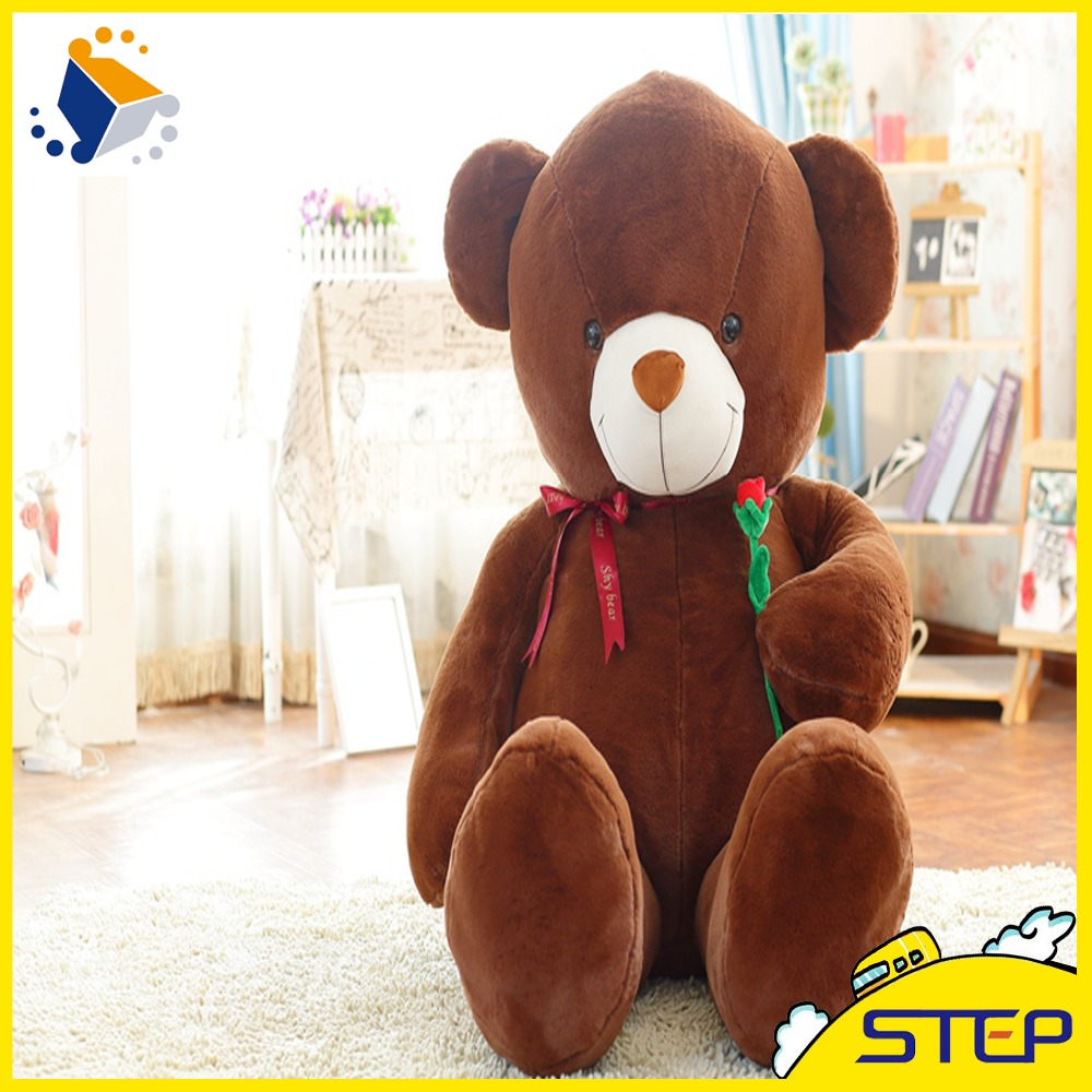Free Shipping 90cm Teddy Bear Stuffed Animals Toys Holding Rose Plush Doll Giant Stuffed Bear Baby Toys for Children ST358(China (Mainland))