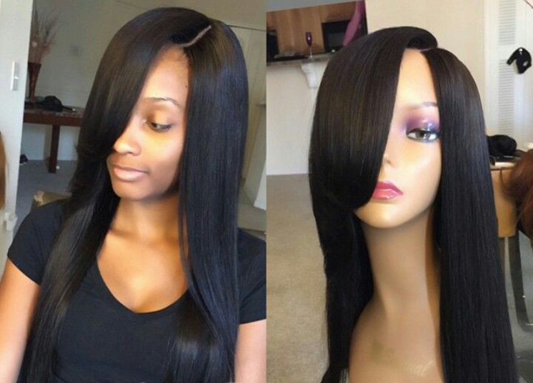 Free Shipping Grade 7A Unprocessed Brazilian Human Hair Silk Top Full Lace Hair Wigs With Combs Lace Front Wigs For Black Women<br><br>Aliexpress
