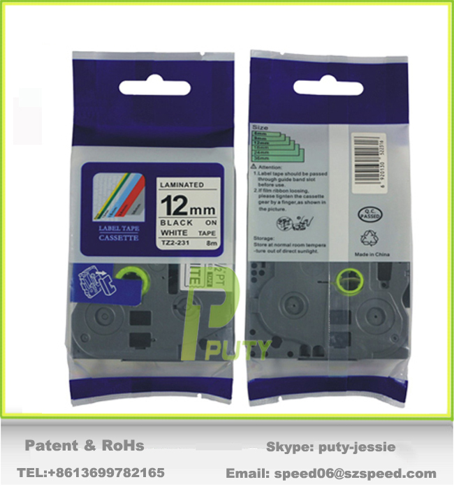 100 compatible 12mm laminated tz 231 tz label tapes for use with p touch label printer