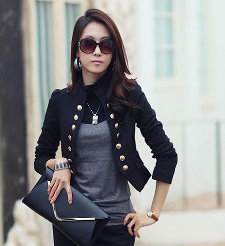 free shipping blazer women2015Korean Women OL long sleeve double breasted slim fit short suit jacket white black blazer feminina(China (Mainland))