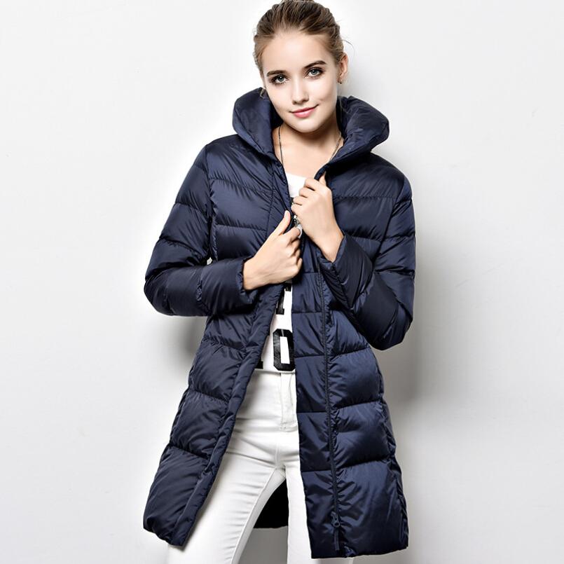 Plus Size Women Down Jacket Outwear Winter Slim Fur Collar Long Down Jacket Coat 2016 NEW Womens Solid Warm Jacket S-XL 3 Color