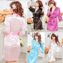New Sexy SILK & LACE Kimono Dressing Gown Bath Robe Babydoll Lingerie+G-string #lgf(China (Mainland))