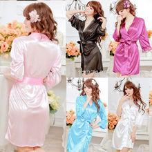 New Sexy SILK & LACE Kimono Dressing Gown Bath Robe Babydoll Lingerie+G-string #lgf