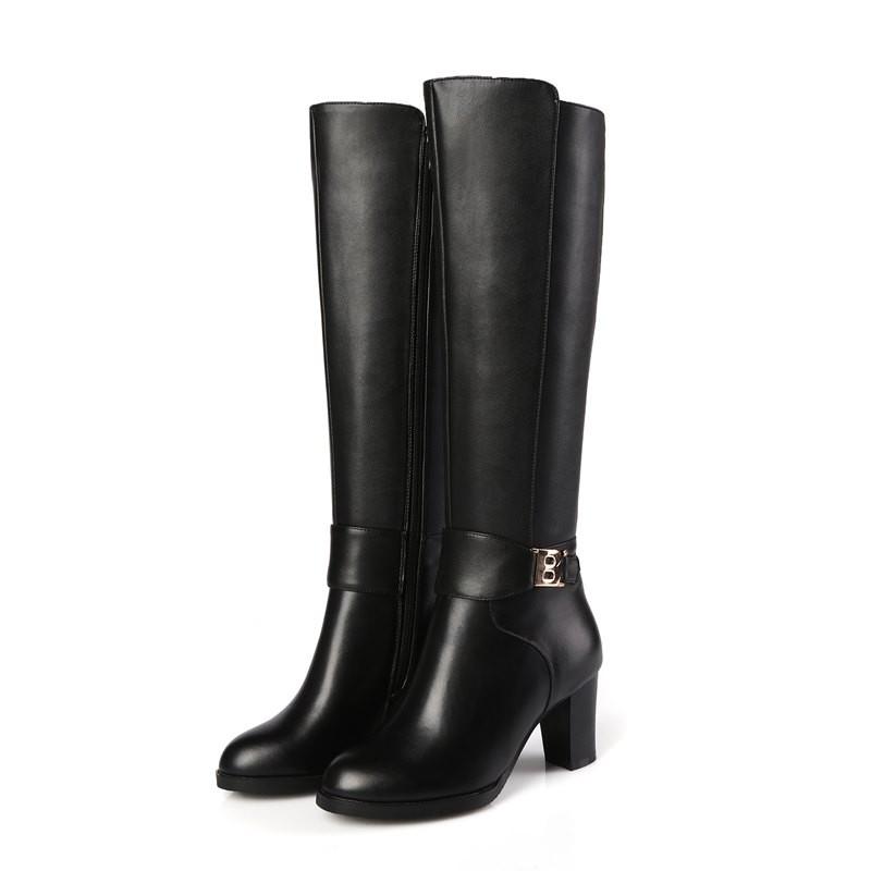 ซื้อ ALLBITEFOยูโรขนาด33-44แฟชั่นรองเท้าสูงเข่าหนังแท้+ PUผู้หญิงบู๊ทส์2017ใหม่มาถึงในช่วงฤดูหนาวที่อบอุ่นรองเท้าฝนbotas
