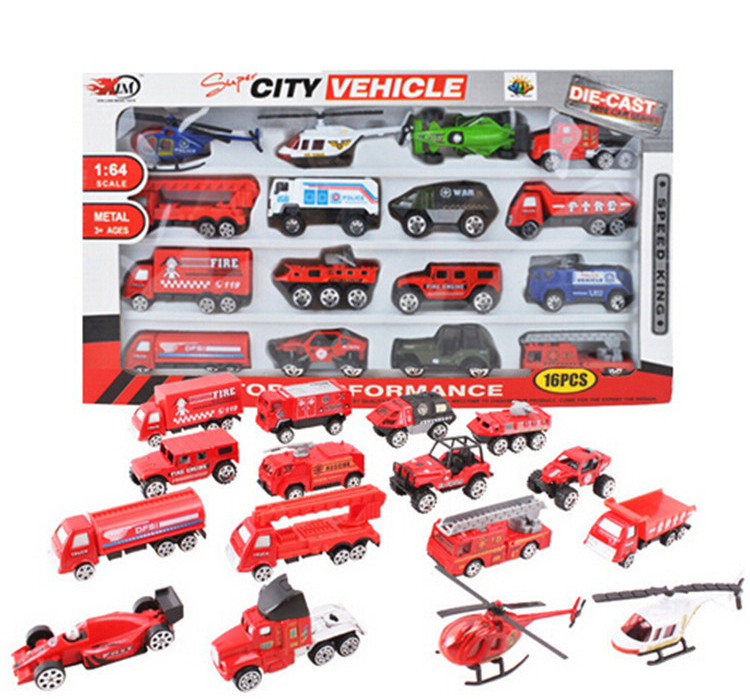 16pcs/lot 1:64 scale city Vehicle toy fire truck glide alloy diecast car model kids toys gift brinquedos meninos(China (Mainland))