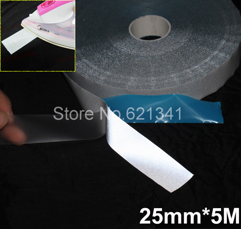 25mm*5m Ironing Reflective Tape Elastic Reflective Fabric Material Iron On Clothes Reflective Heat Transfer Film(China (Mainland))