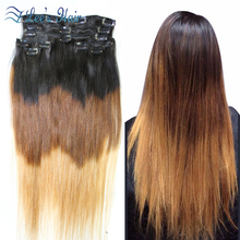 Hot Remy Brazilian Virgin Hair Clip In Hair Extensions 7pcs/set T1B/4/27 100g/set Human Hair Extension Ombre Brazilian Hair(China (Mainland))