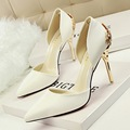 New Summer Pumps Sexy Carved Metal High Heels Shoes Thin Heel Sandals Pointed High heeled Shoes