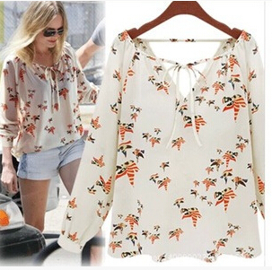 women chiffon shirts 2015 Floral Print Blouse Fashion Casual Ladies  Vintage Shirt Slim High Quality casual blouse,M1076(China (Mainland))